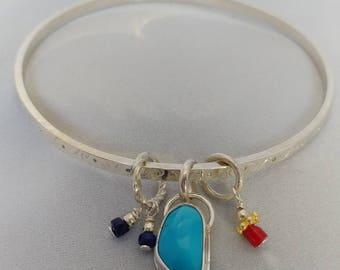 Turquoise ,Coral,Lapis Charm Sterling Silver Handstamped Bangle Bracelet