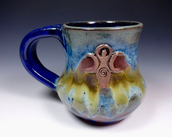Goddess Handmade Pottery Mug Ceramic Stoneware Cascades of Color Glazing
