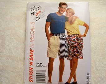 Stitch 'N Save By McCall's Pattern - 5348 - Misses', Men's And Teen Boys Shorts - Size B (Medium, Large)