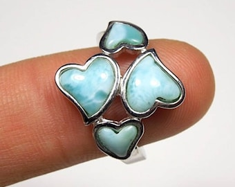 High Quality Genuine AAA Dominican Larimar Inlay 925 Sterling Silver Heart Ring size 6,7,8,9