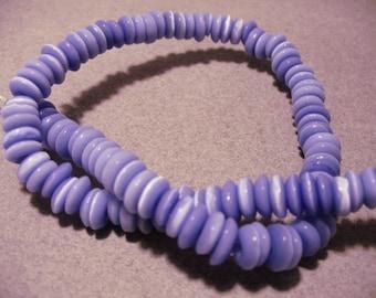 Cat's Eye Glass Beads Lavender Rondelles 7x3MM