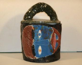 Slab Pottery Face Canister Large Lidded Storage Container Mug Jug Bright Color Glazed Blue Eye Bearded Man Handmade Stash Kitchen Home Decor