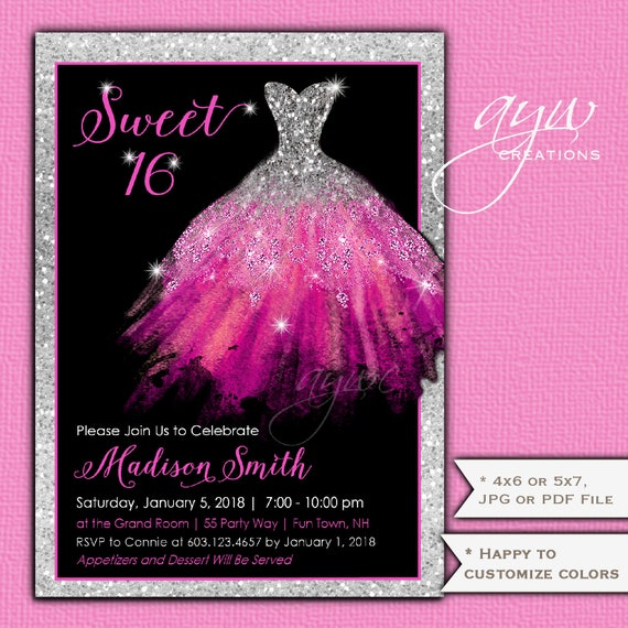 sweet sixteen invitations dress sweet 16 birthday party