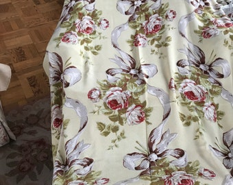 Vintage Barkcloth Curtain Panel/Tablecloth in Yellow with Roses and Ribbons