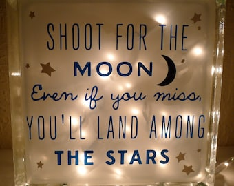 Shoot for the Moon Nursery Quote Nightlight