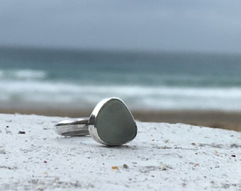Ocean Blue Silver Seaglass Ring