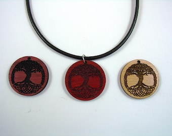 """Necklace Celtic Knot Tree 1 1/4 Dia with Leather chain 14"""""""