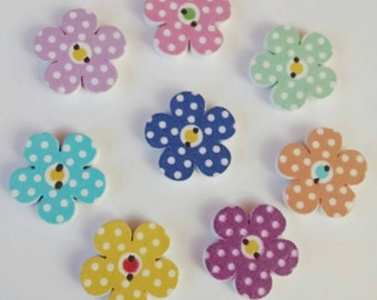 Wooden Polka Dot Flower Buttons x 8