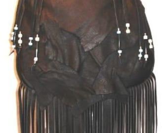 "Designer Handbag Leather Purse Beads Fringe Black Deerskin Beaded Bag Hippie Retro ""RENAISSANCE GYPSY"" Handmade by Debbie Leather"