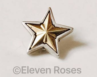 Lagos Caviar 925 Sterling Silver & 750 18k Gold Fluted Star Tie Tack Tac Pin Brooch Free US Shipping