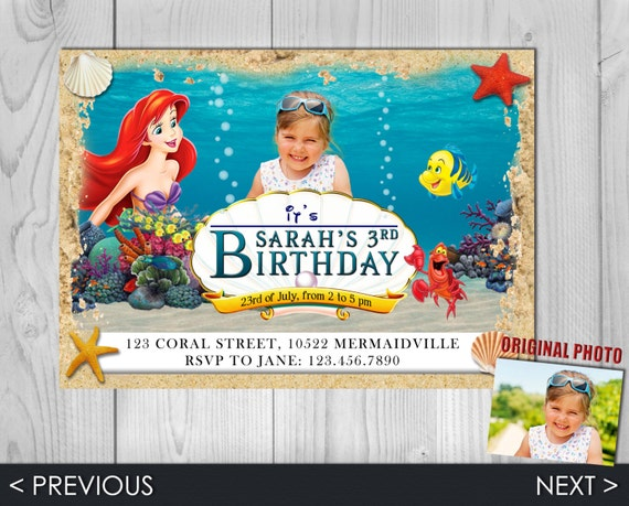 Little Mermaid Invitation - Little Mermaid - Ariel Invitation - Little Mermaid Invite - Ariel Invite - Ariel - Mermaid Invite