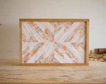 "Wood Wall Hanging - 19"" x 13"" - Neutral Palette - Asymmetric"