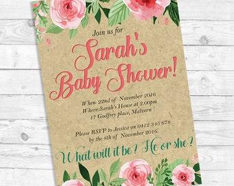 Baby Shower invitations, Custom invites, Baby Shower invites, Printable invitations