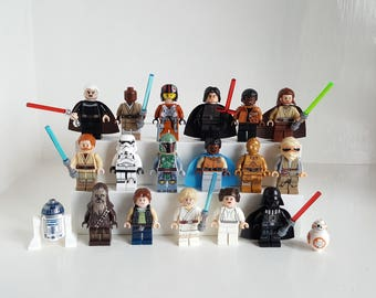 Star Wars Minifigure or Keyring Sets Collection Lego Compatible Keychain Birthday Cake Topper Vader R2D2 Boba Fett Leia Han Solo C3P0 BB8