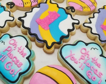 Oh the Places You'll Go Sugar Cookies | First Birthday Cookies | Dr Seuss Birthday | 1st Birthday Cookies | Party Favors