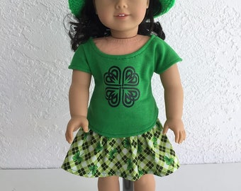 18 inch Doll Clothes Shamrock Print Skirt, Top and Hat fits American Girl Doll