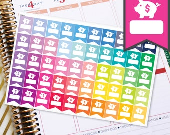 Saving Money Piggy Bank Planner Stickers Flags To Be Used With Erin Condren LifePlanner (ECLP), Happy Planner - 50 Stickers  (#11012)