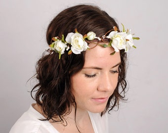 White Rose Flower Crown Floral Crown Woodland Wedding Flower Headband Rustic Bridal Headpiece Floral Halo Green Leaf Crown Boho Headband