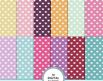 Hearts digital paper, girl hearts digital scrapbook paper, heart pattern, hearts background, hearts printable, girl scrapbook, purple, pink