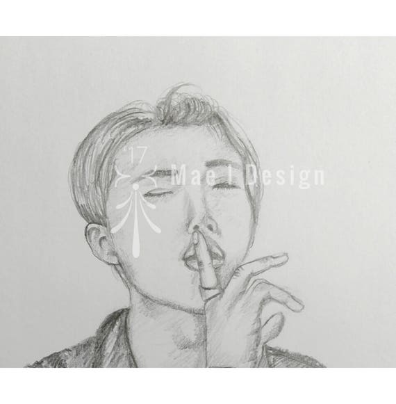 Hand Drawn Portrait of BTS Leader Kim Namjoon- Bangtan Sonyeondan - Bangtan Boys - Rap Monster - Rap Mon - RM - Namjoon - Army - Kpop