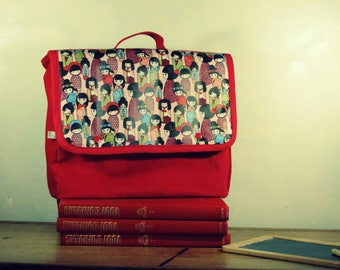 Red Velvet satchel fabric kokeshi