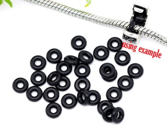 100 Pieces Black Rubber Ring/ Silicone Stopper Beads, 6mm