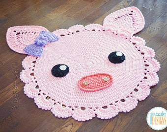 CROCHET PATTERN Pinky Piggy Rug PDF Crochet Pattern with Instant Download