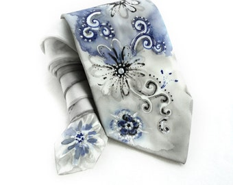 Blue Silver Tie. Men NeckTie. Hand Painted Silk Tie. Gift for Him. Blue, Black, Silver Silk Tie. Whimsy Tie. OOAK Silk Tie. MADE to ORDER
