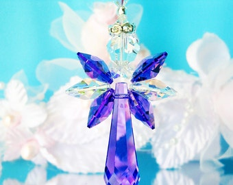 Guardian Angel Car Charm Purple Swarovski Crystal Rear View Mirror Car Accessories Mothers Day Gift
