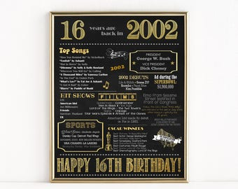 Printable 16th Birthday Chalkboard Sign, Back in 2002, Birthday Gift, Birthday Poster, 2002 Poster, Digital, Download, Sign, MB206