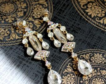Vintage Chandlier crystal diamond post dramatic dangle earrings (found jewelry) Statement bridal jewelry wedding,ballroom, jewel collection