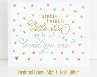 Twinkle Little Star Do You Know How Loved You Are Sign - Printable Baby Shower Decorations, Nursery Wall Art Print, Mint Green Gold Glitter