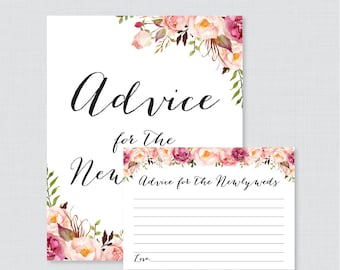 Advice for the Newlyweds Bridal Shower Activity - Printable Pink Floral Bridal Shower Advice Cards and Sign - Rustic Bridal Shower 0024