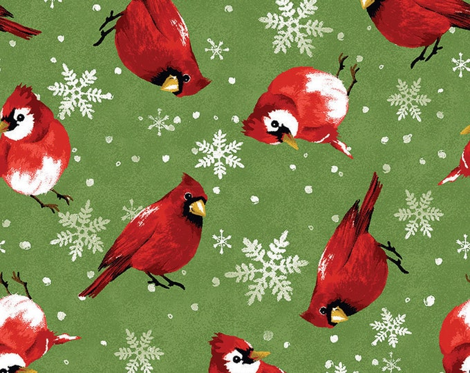 HOLIDAY CHRISTMAS FABRIC, Christmas Garden Cardinals Cotton Holiday Fabric by Fabric Edition