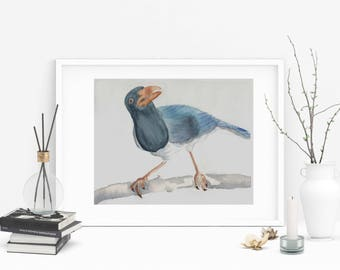 Blue Bird Painting, Blue Bird Watercolor,Original Watercolor of a blue bird, Wall Art,Bird Fine Art
