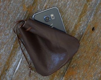 Handmade Leather Drawstring Pouch - Drawstring Bag - Brown