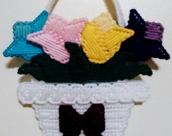 Pastel BASKET OF TULIPS - Wall or Door Hanging - Needlepoint on Plastic Canvas - Handmade - Hand Stitched