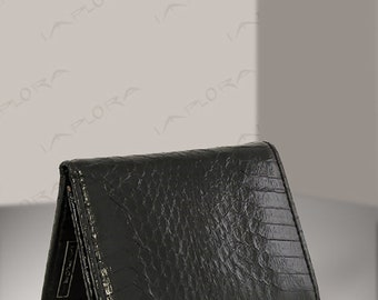 Real Cobra Snakeskin Trifold Wallet, Black - backside - by Implora (#0420)