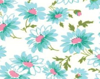 Glamping Daisies blue Mary Jane moda fabric FQ or more