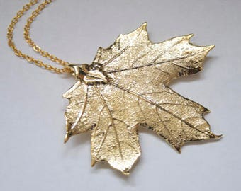 Real Maple Leaf Gold necklace with gold chain