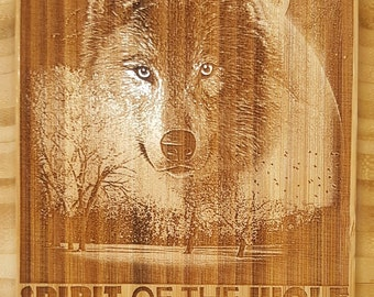 Laser Engraved Spirit of the Wolf Bamboo Plaque with Cove Edge