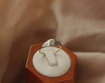 Stunning 14K yellow and white gold engagement ring with .53 carat Edwardian-cut Diamond solitaire