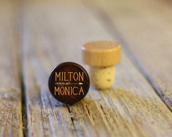 BEST PRICE ** Lot of Personalized Custom Wine Stopper, Laser Engraved Cork Bottle Topper, Reusable Wedding Favor --WS-dg-Milton Monica