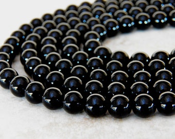 8mm A Grade Black Onyx Round Polished Gemstone Beads, Full Strand (IND1C12)