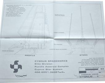 1984 Imperial Shuttle 3 of 3 Profile Star Wars Vintage Blueprint Poster