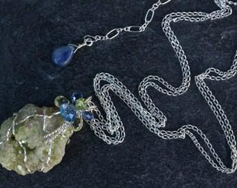 Vesuvianite Druzy Pendant - with Kyanite, Peridot and Lemon Quartz