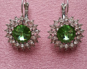Green and silver Crystal earrings