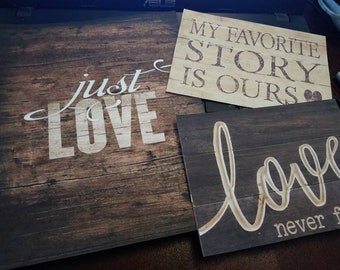 3PC our love story favorite  Set Art Print vintage Picture Home Country  country shabby primitive trending 2018 baby