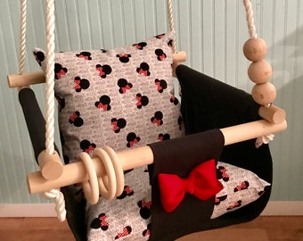 Baby Swing Minnie Mouse swing 1st Birthday Nursery swing indoor/outdoor swing Porch swing Toddler swing