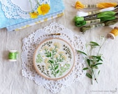 Green wall art, Hand Embroidery, christmas gift for mom - Green Garden - Embroidery kit, Wall Art, Embroidery Hoop Art, Embroidery design